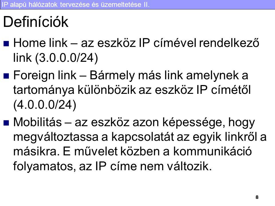 Definíciók Home link – az eszköz IP címével rendelkező link (3.0.0.0/24)