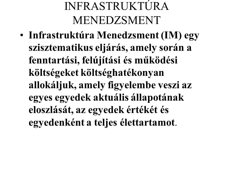 INFRASTRUKTÚRA MENEDZSMENT