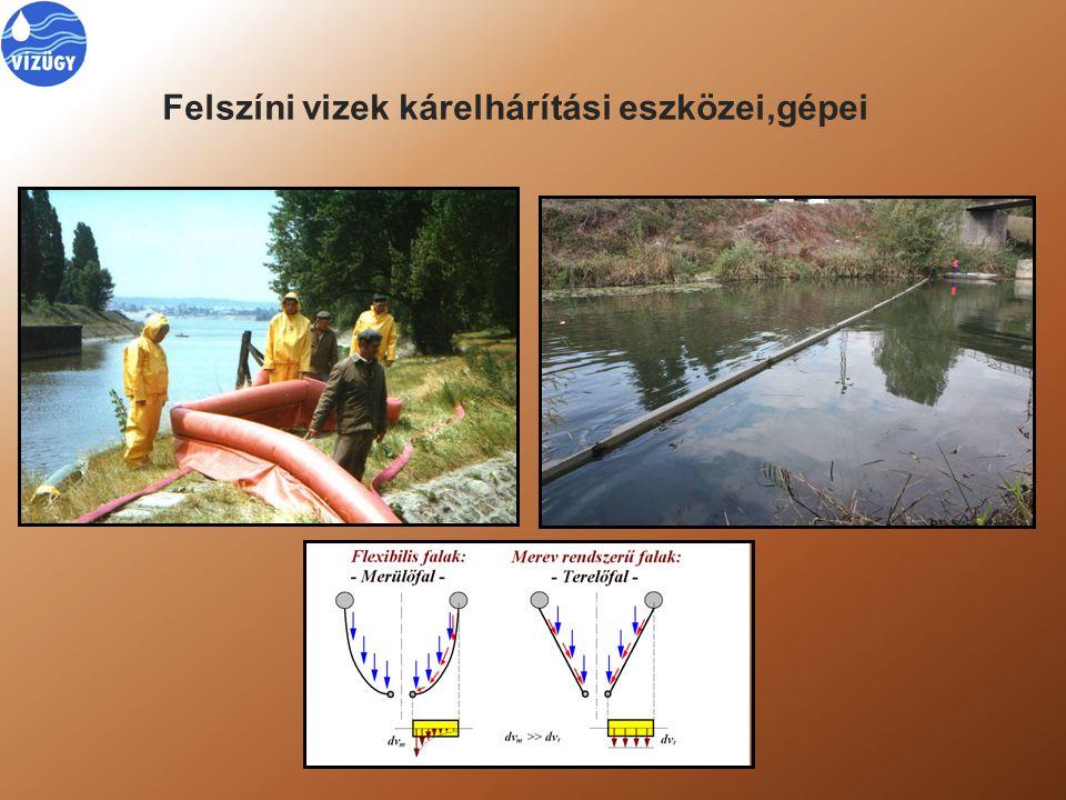 Felszíni vizek kárelhárítási eszközei,gépei