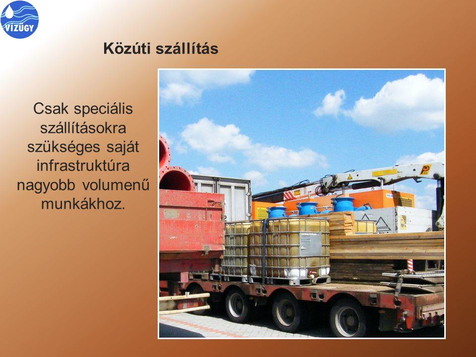 Közúti szállítás Csak speciális szállításokra szükséges saját infrastruktúra nagyobb volumenű munkákhoz.