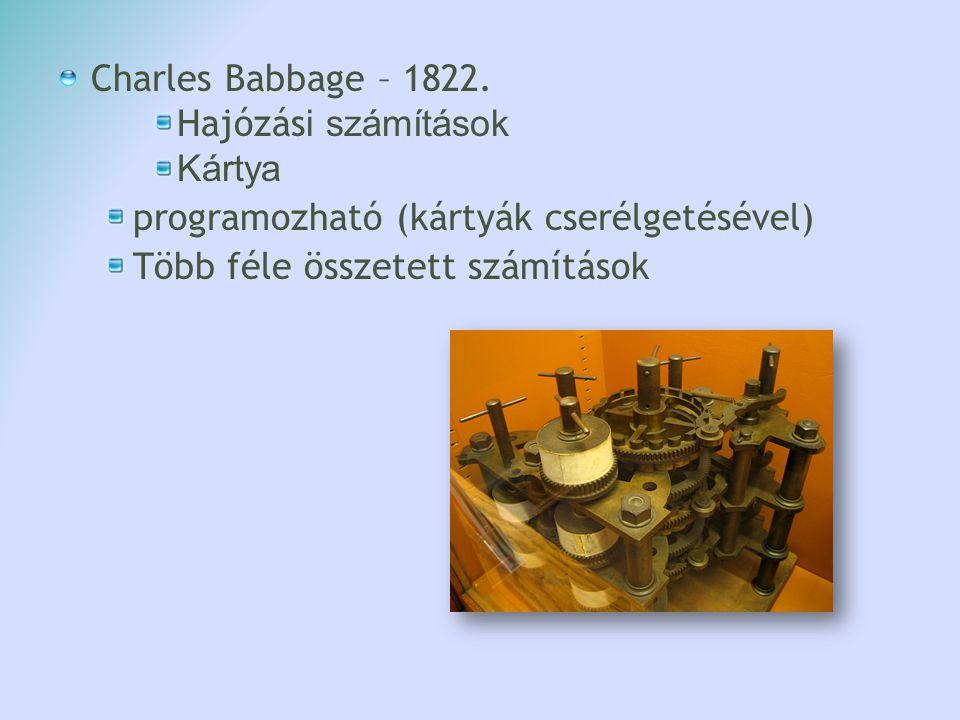 Charles Babbage – 1822. Hajózási számítások. Kártya.
