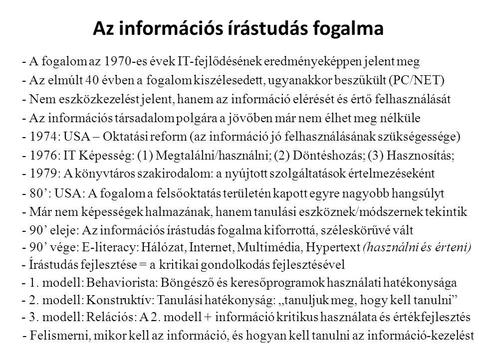 Az információs írástudás fogalma