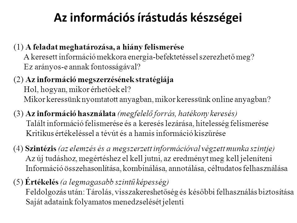 Az információs írástudás készségei