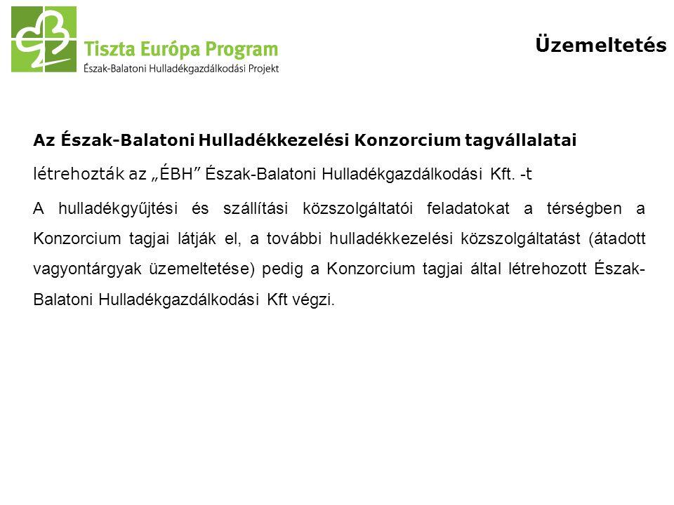 """Üzemeltetés Az Észak-Balatoni Hulladékkezelési Konzorcium tagvállalatai. létrehozták az """"ÉBH Észak-Balatoni Hulladékgazdálkodási Kft. -t."""