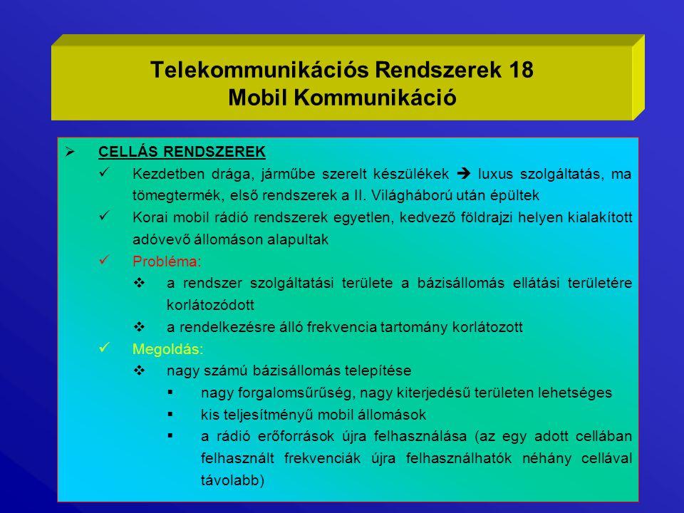 Telekommunikációs Rendszerek 18 Mobil Kommunikáció