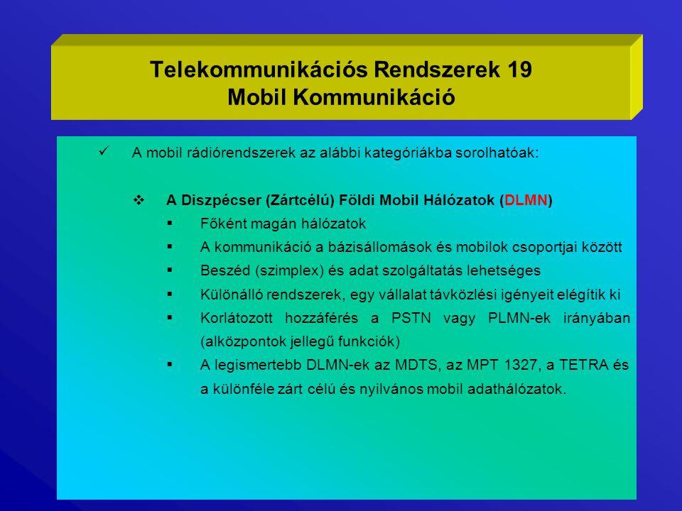 Telekommunikációs Rendszerek 19 Mobil Kommunikáció