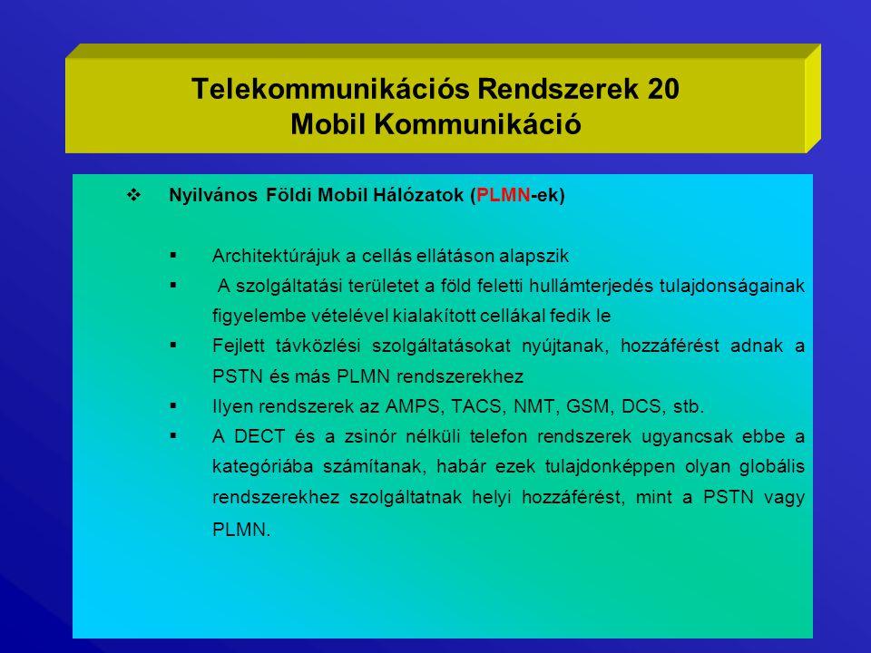 Telekommunikációs Rendszerek 20 Mobil Kommunikáció