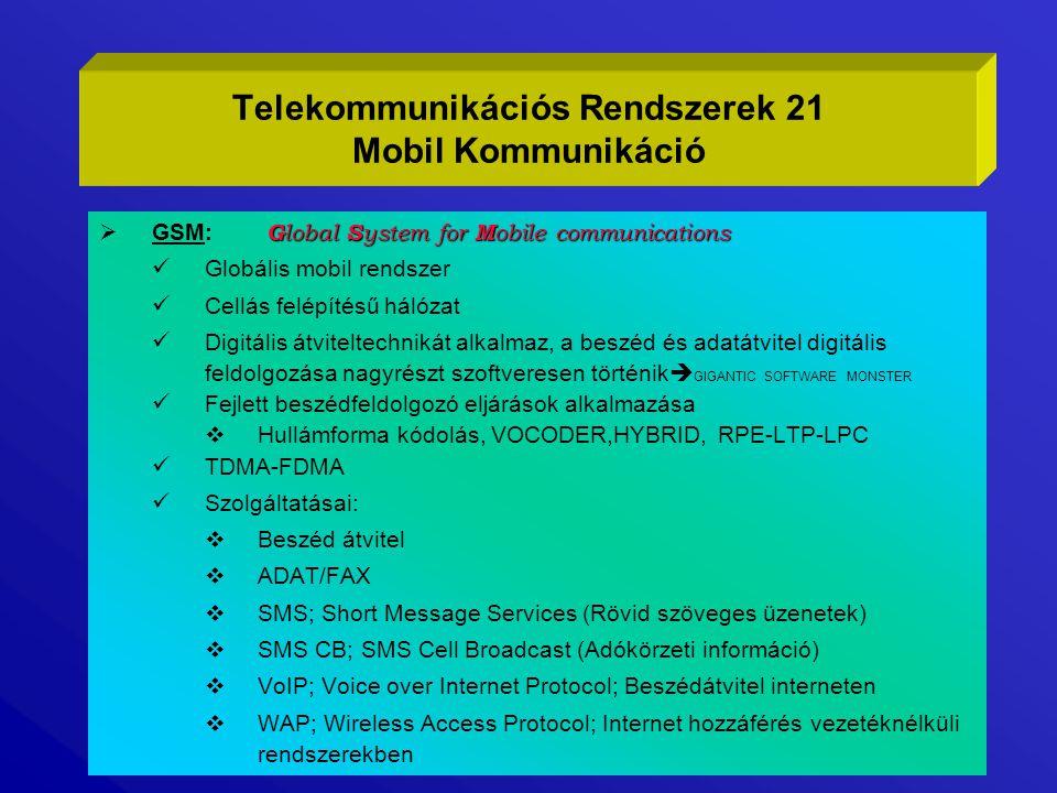 Telekommunikációs Rendszerek 21 Mobil Kommunikáció