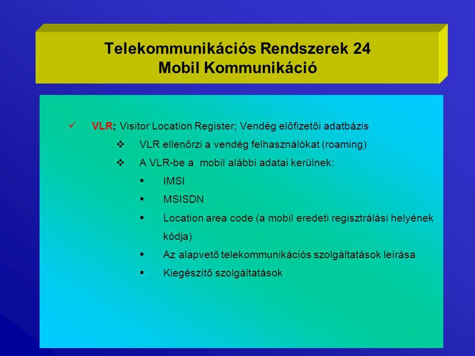 Telekommunikációs Rendszerek 24 Mobil Kommunikáció