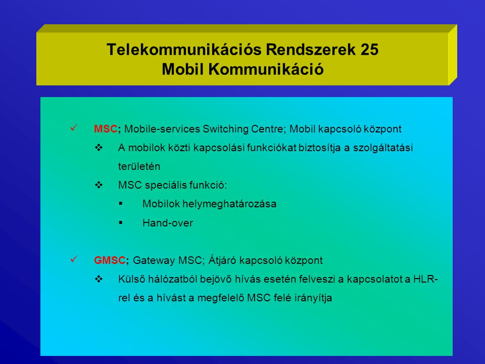 Telekommunikációs Rendszerek 25 Mobil Kommunikáció
