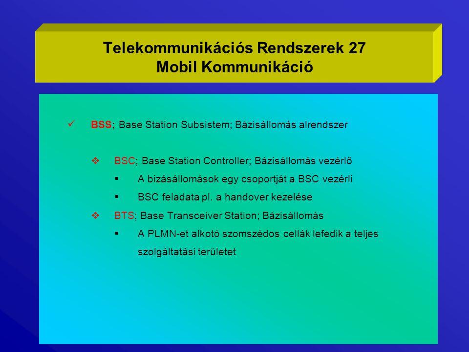 Telekommunikációs Rendszerek 27 Mobil Kommunikáció