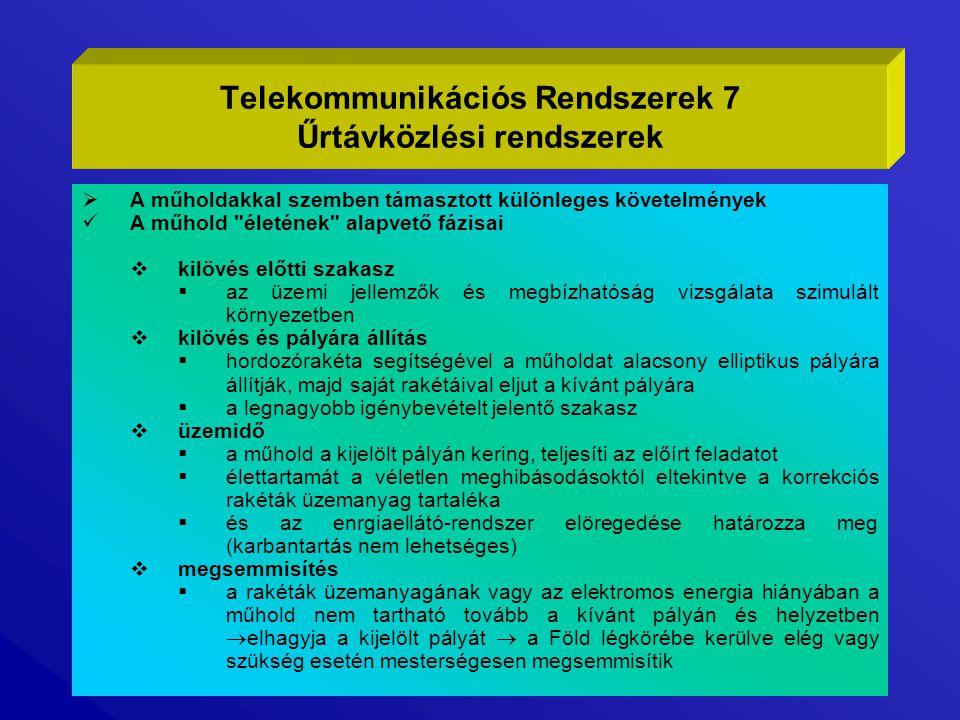 Telekommunikációs Rendszerek 7 Űrtávközlési rendszerek