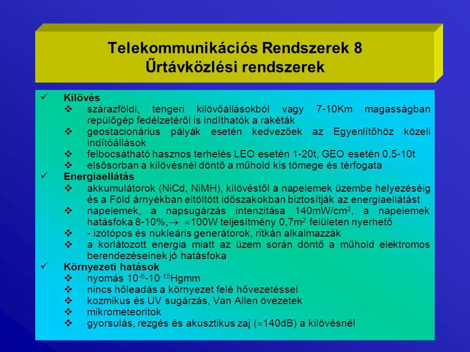 Telekommunikációs Rendszerek 8 Űrtávközlési rendszerek