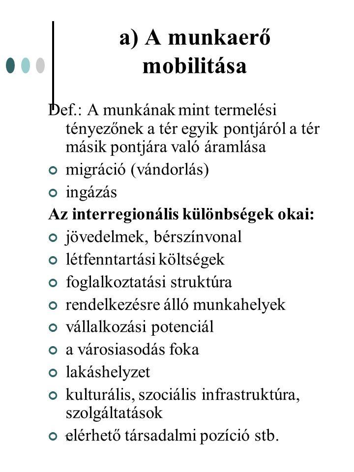 a) A munkaerő mobilitása