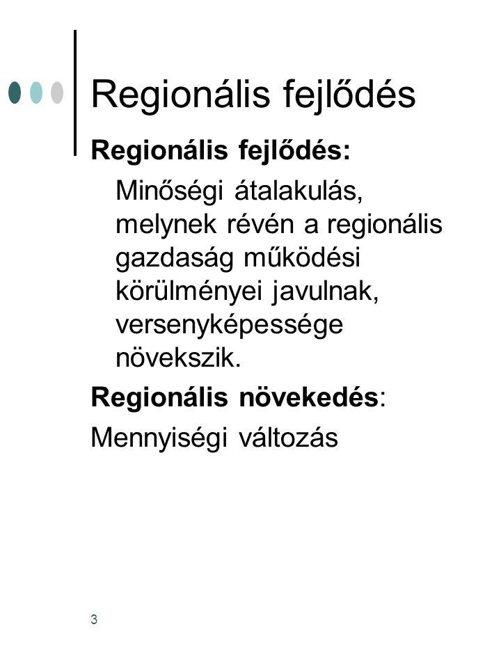 Regionális fejlődés Regionális fejlődés: