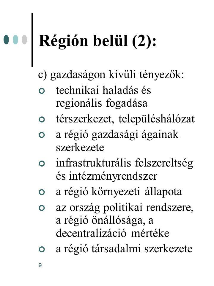 Régión belül (2): c) gazdaságon kívüli tényezők:
