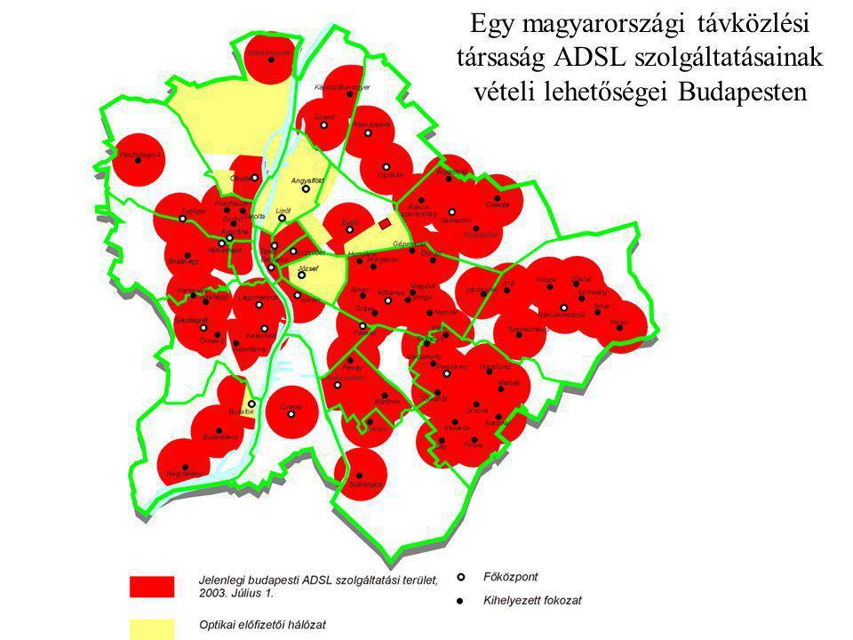 Egy magyarországi távközlési társaság ADSL szolgáltatásainak vételi lehetőségei Budapesten