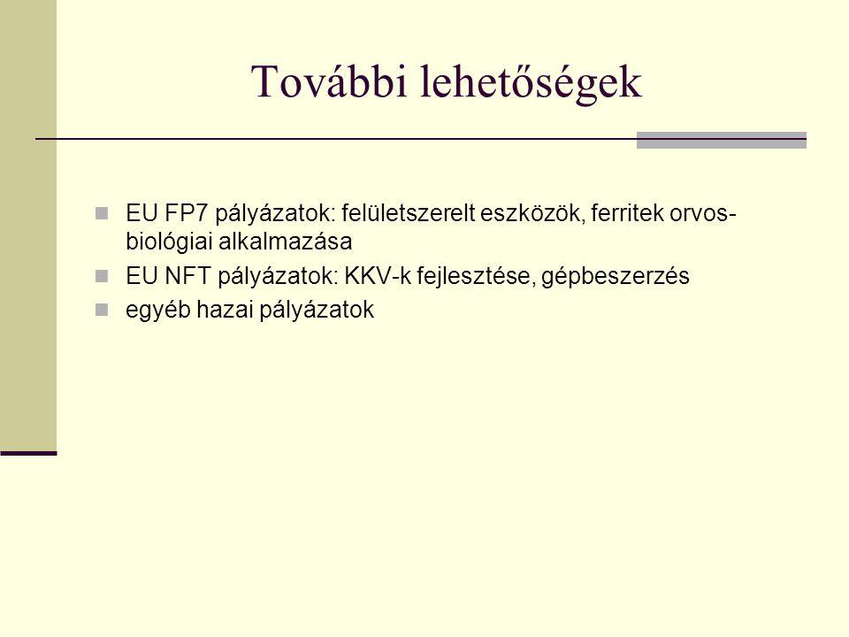 További lehetőségek EU FP7 pályázatok: felületszerelt eszközök, ferritek orvos-biológiai alkalmazása.