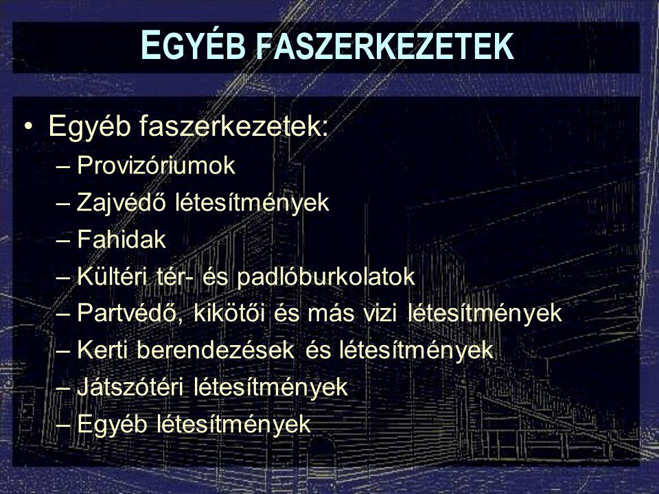EGYÉB FASZERKEZETEK Egyéb faszerkezetek: Provizóriumok