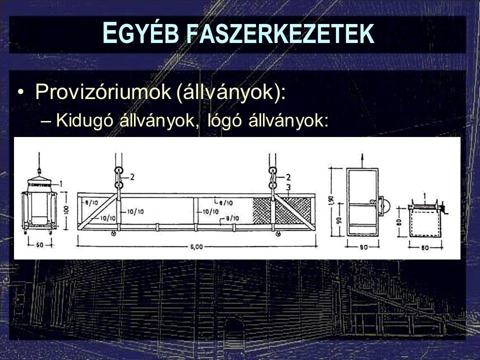 EGYÉB FASZERKEZETEK Provizóriumok (állványok):