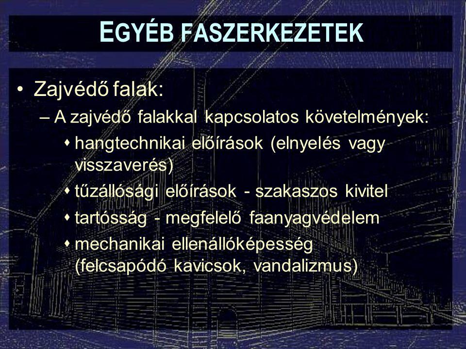 EGYÉB FASZERKEZETEK Zajvédő falak: