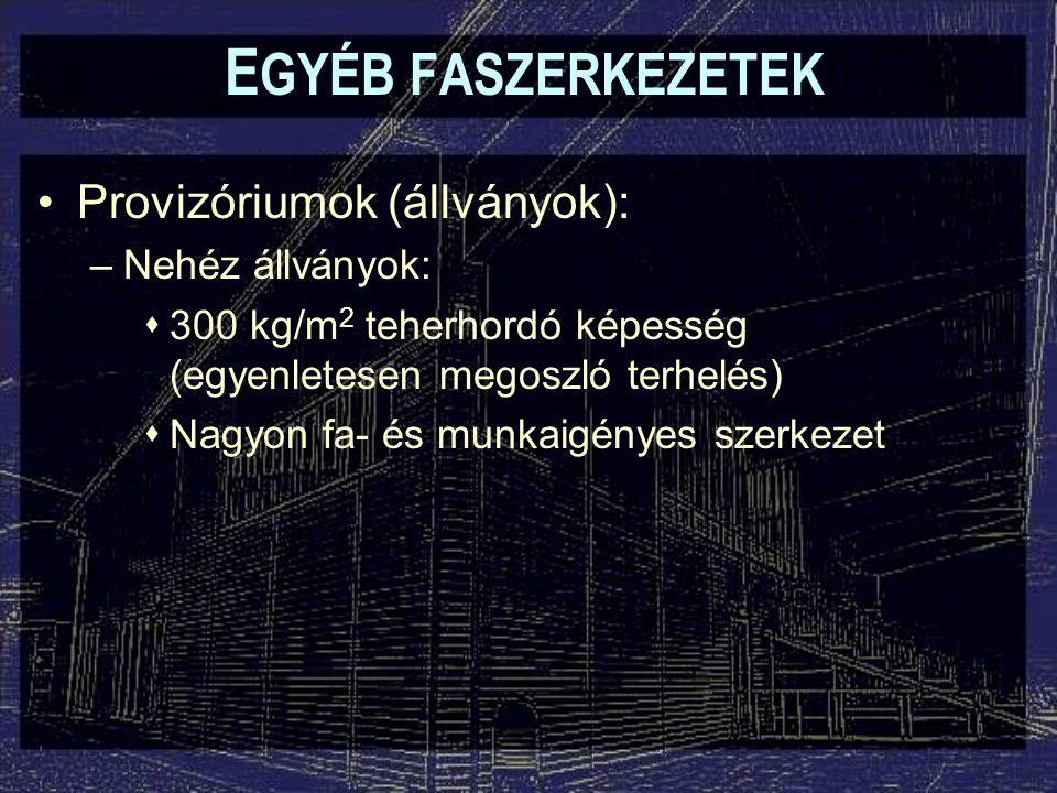 EGYÉB FASZERKEZETEK Provizóriumok (állványok): Nehéz állványok: