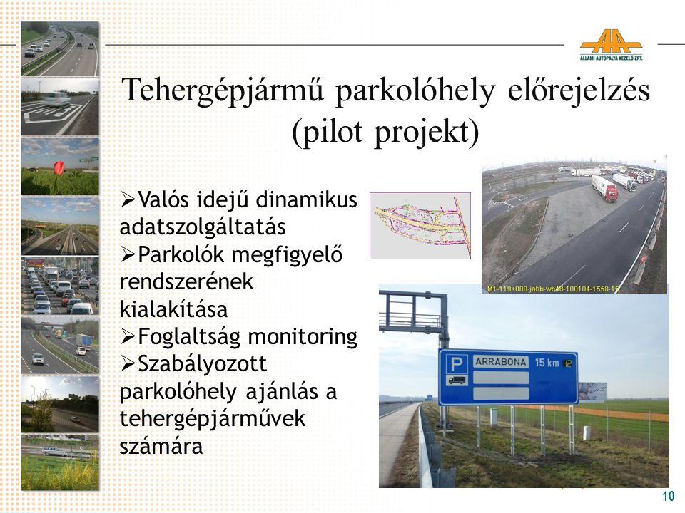 Tehergépjármű parkolóhely előrejelzés (pilot projekt)