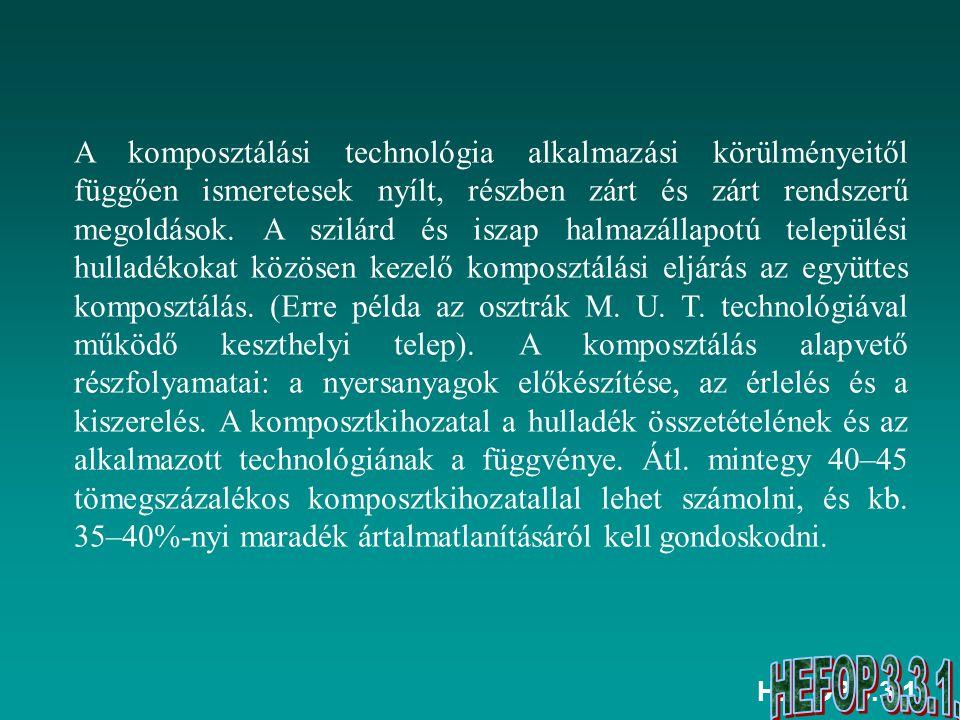 A komposztálási technológia alkalmazási körülményeitől függően ismeretesek nyílt, részben zárt és zárt rendszerű megoldások. A szilárd és iszap halmazállapotú települési hulladékokat közösen kezelő komposztálási eljárás az együttes komposztálás. (Erre példa az osztrák M. U. T. technológiával működő keszthelyi telep). A komposztálás alapvető részfolyamatai: a nyersanyagok előkészítése, az érlelés és a kiszerelés. A komposztkihozatal a hulladék összetételének és az alkalmazott technológiának a függvénye. Átl. mintegy 40–45 tömegszázalékos komposztkihozatallal lehet számolni, és kb. 35–40%-nyi maradék ártalmatlanításáról kell gondoskodni.