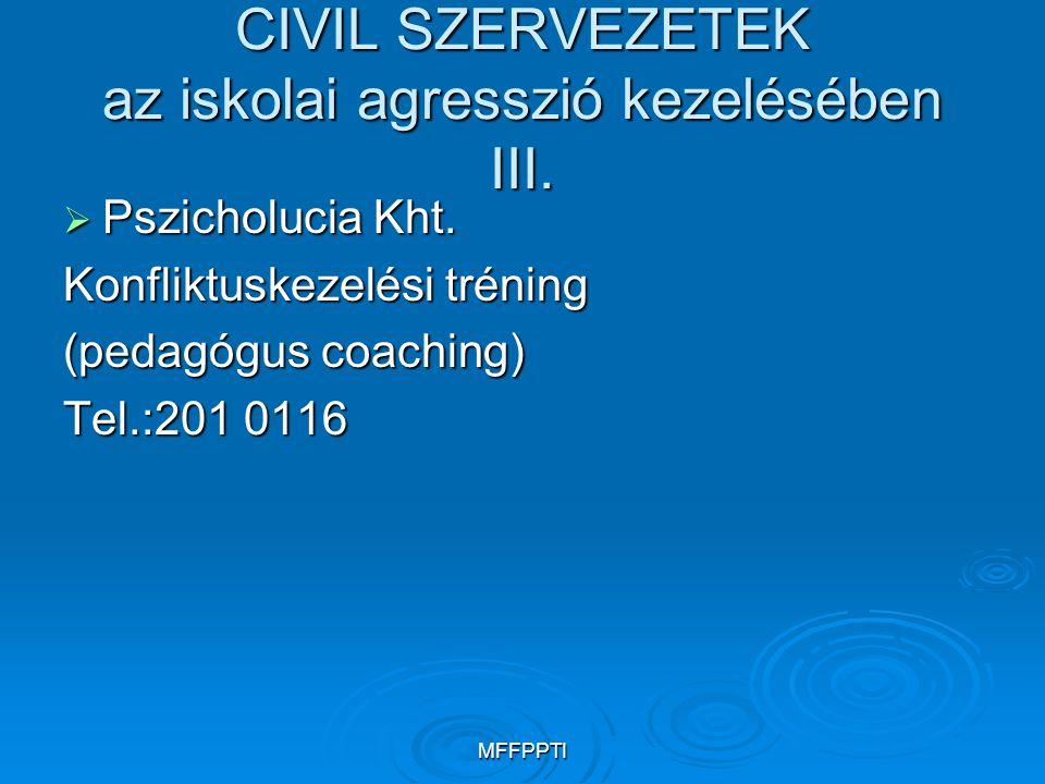 CIVIL SZERVEZETEK az iskolai agresszió kezelésében III.