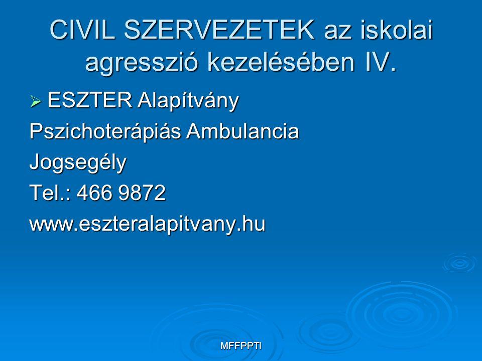 CIVIL SZERVEZETEK az iskolai agresszió kezelésében IV.