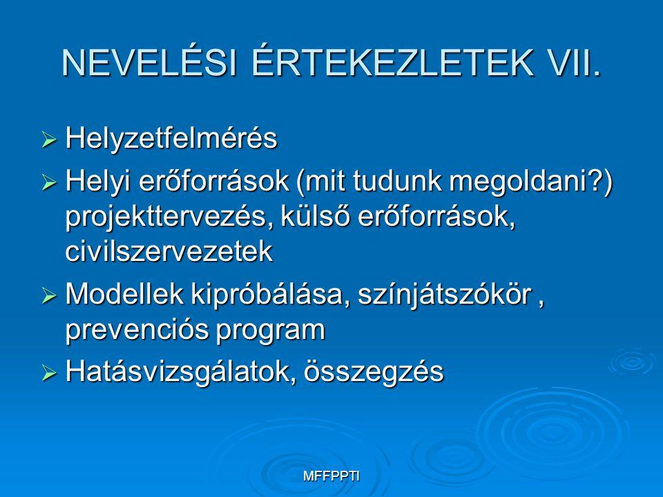 NEVELÉSI ÉRTEKEZLETEK VII.