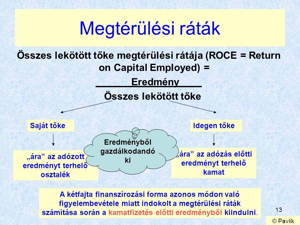 Megtérülési ráták Összes lekötött tőke megtérülési rátája (ROCE = Return on Capital Employed) = Eredmény.