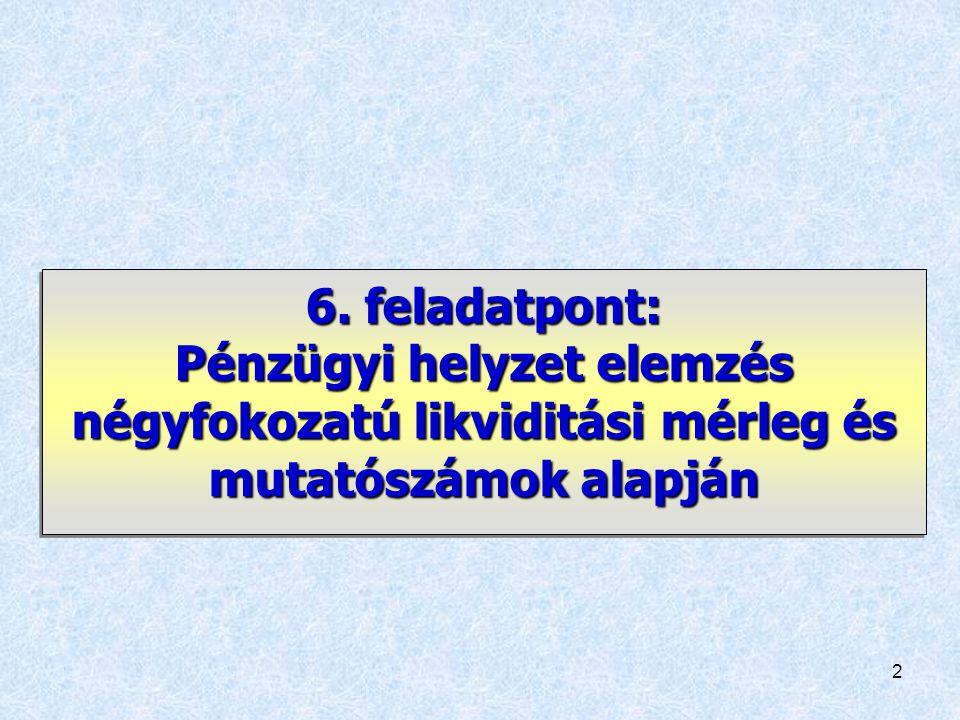 6. feladatpont: Pénzügyi helyzet elemzés négyfokozatú likviditási mérleg és mutatószámok alapján