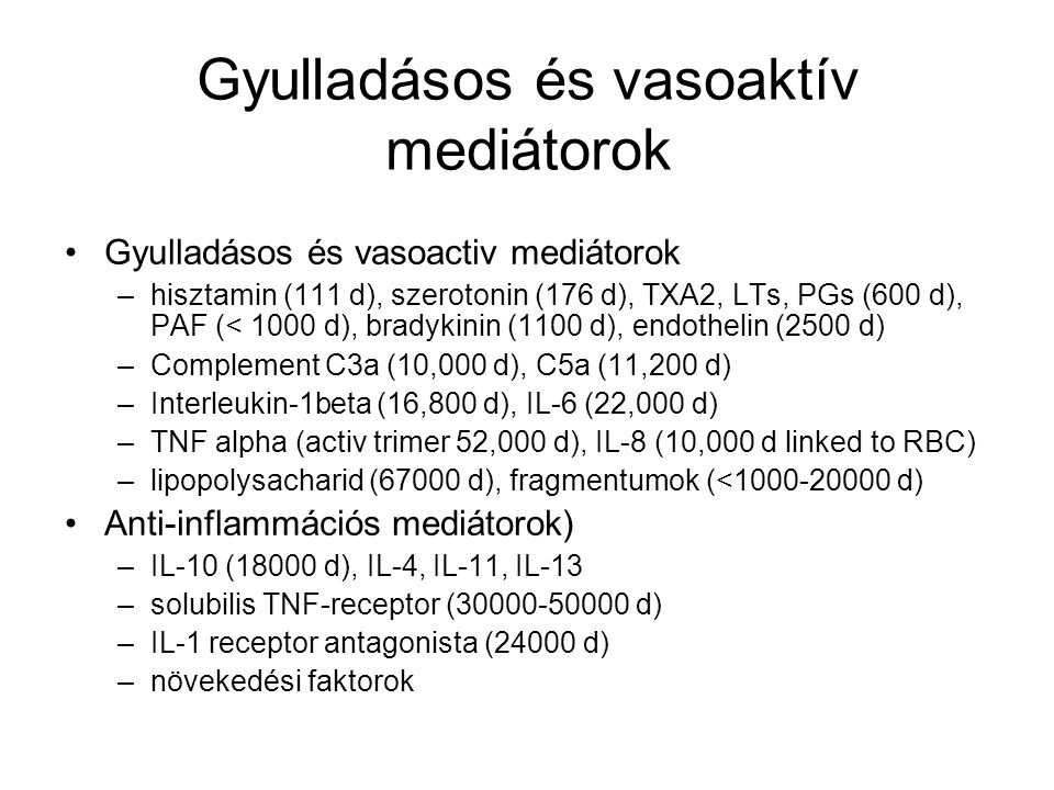 Gyulladásos és vasoaktív mediátorok