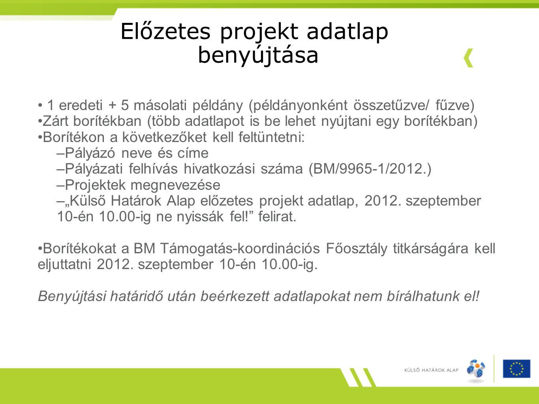 Előzetes projekt adatlap benyújtása