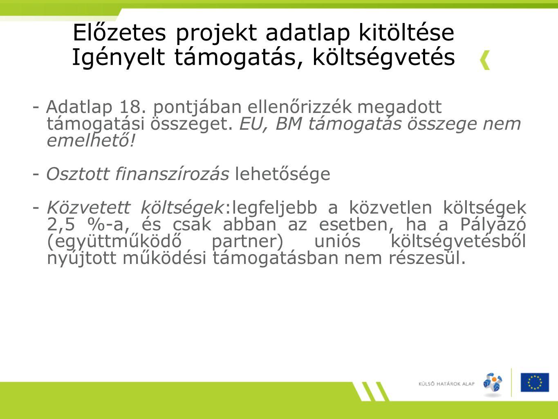 Előzetes projekt adatlap kitöltése Igényelt támogatás, költségvetés