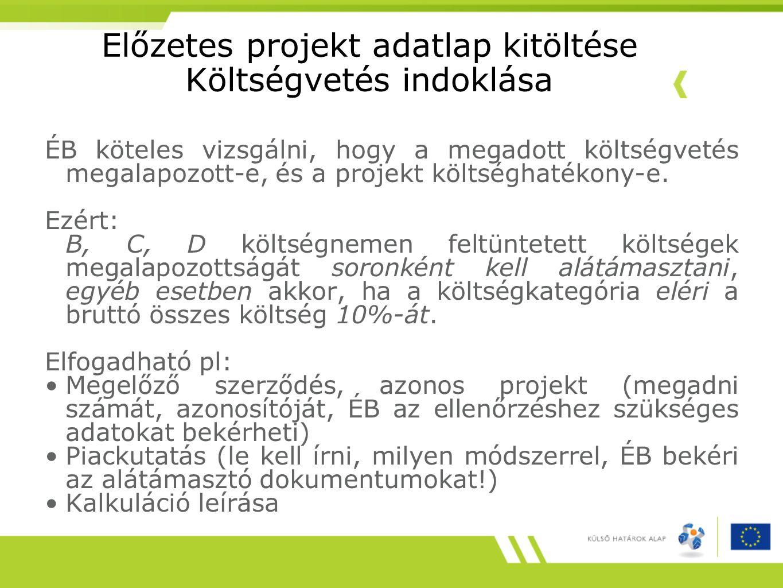 Előzetes projekt adatlap kitöltése Költségvetés indoklása