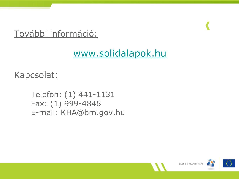 www.solidalapok.hu További információ: Kapcsolat: