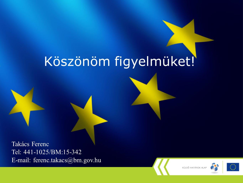 Köszönöm figyelmüket! Takács Ferenc Tel: 441-1025/BM:15-342