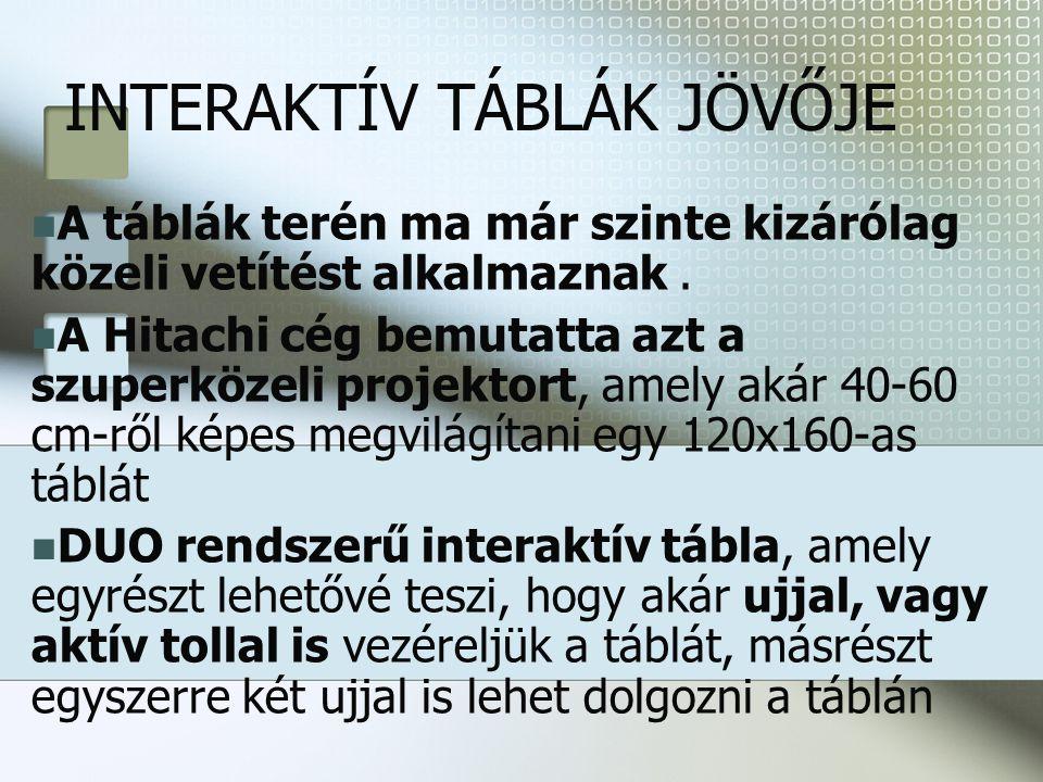 INTERAKTÍV TÁBLÁK JÖVŐJE