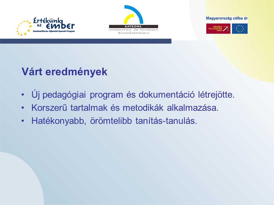 Várt eredmények Új pedagógiai program és dokumentáció létrejötte.