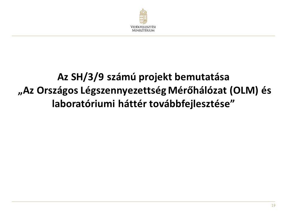 """Az SH/3/9 számú projekt bemutatása """"Az Országos Légszennyezettség Mérőhálózat (OLM) és laboratóriumi háttér továbbfejlesztése"""