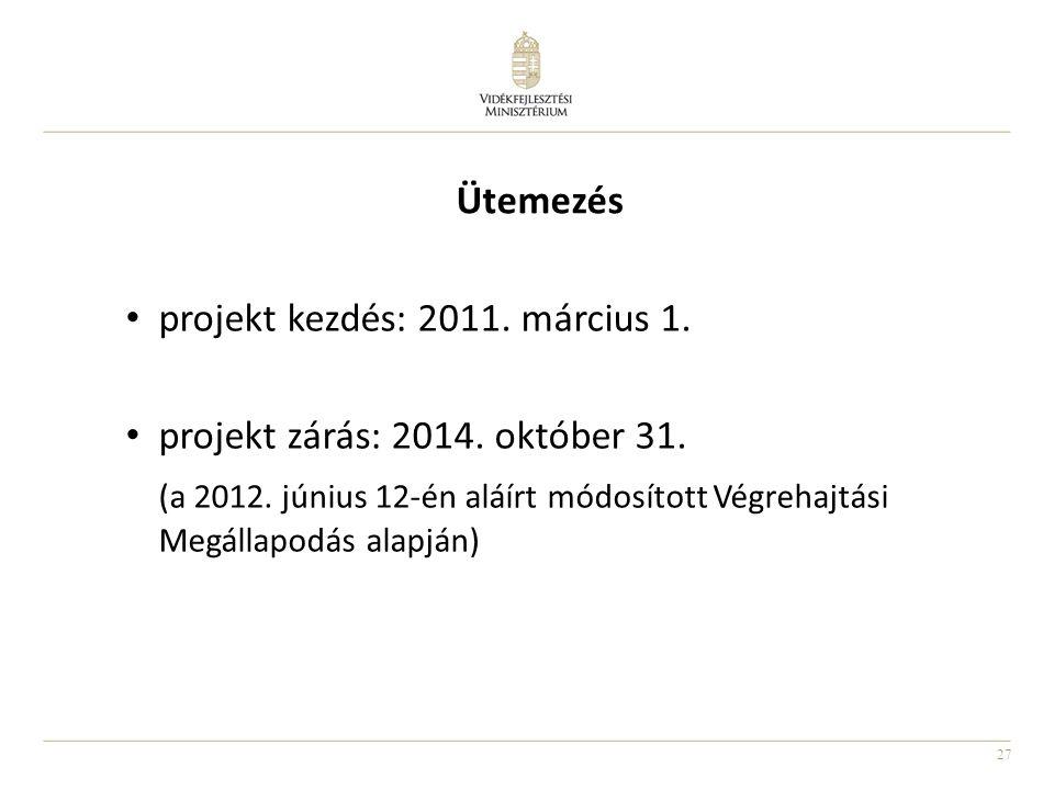 Ütemezés projekt kezdés: 2011. március 1. projekt zárás: 2014. október 31.