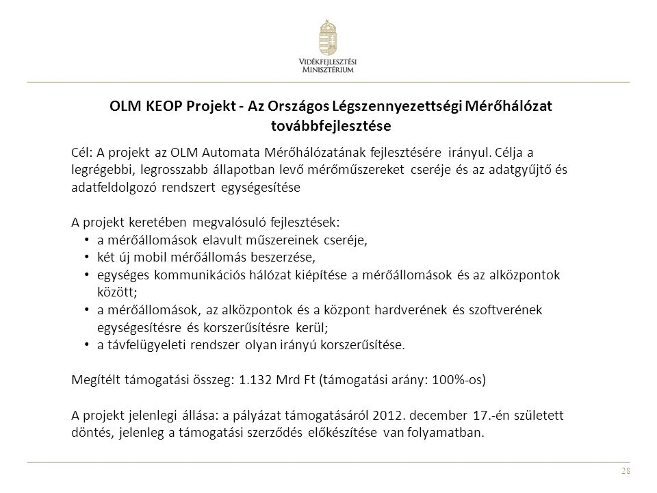 OLM KEOP Projekt - Az Országos Légszennyezettségi Mérőhálózat továbbfejlesztése
