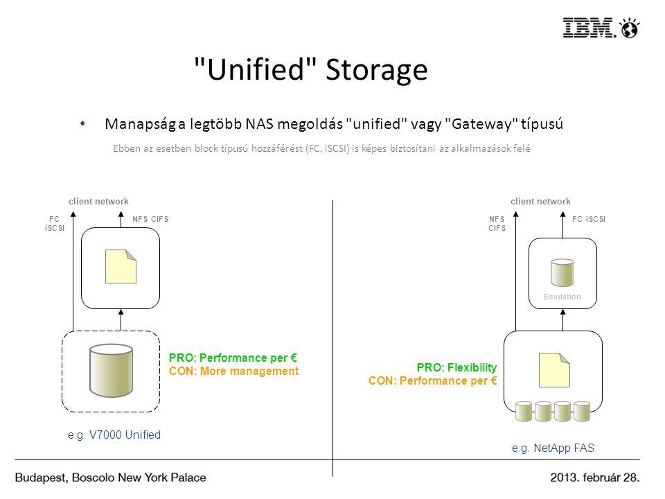 Unified Storage Manapság a legtöbb NAS megoldás unified vagy Gateway típusú.