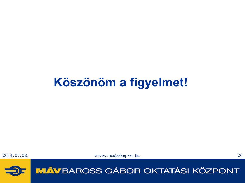 Köszönöm a figyelmet! 2017.04.04. www.vasutaskepzes.hu 20 20