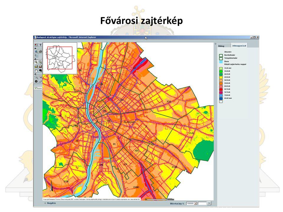 Fővárosi zajtérkép Itt a Fővárosi Önkormányzat Zajtérképéből láthatnak egy képernyőképet.
