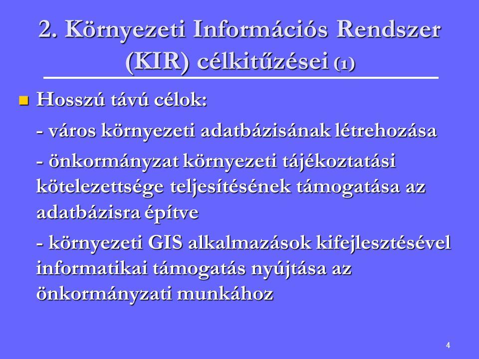 2. Környezeti Információs Rendszer (KIR) célkitűzései (1)