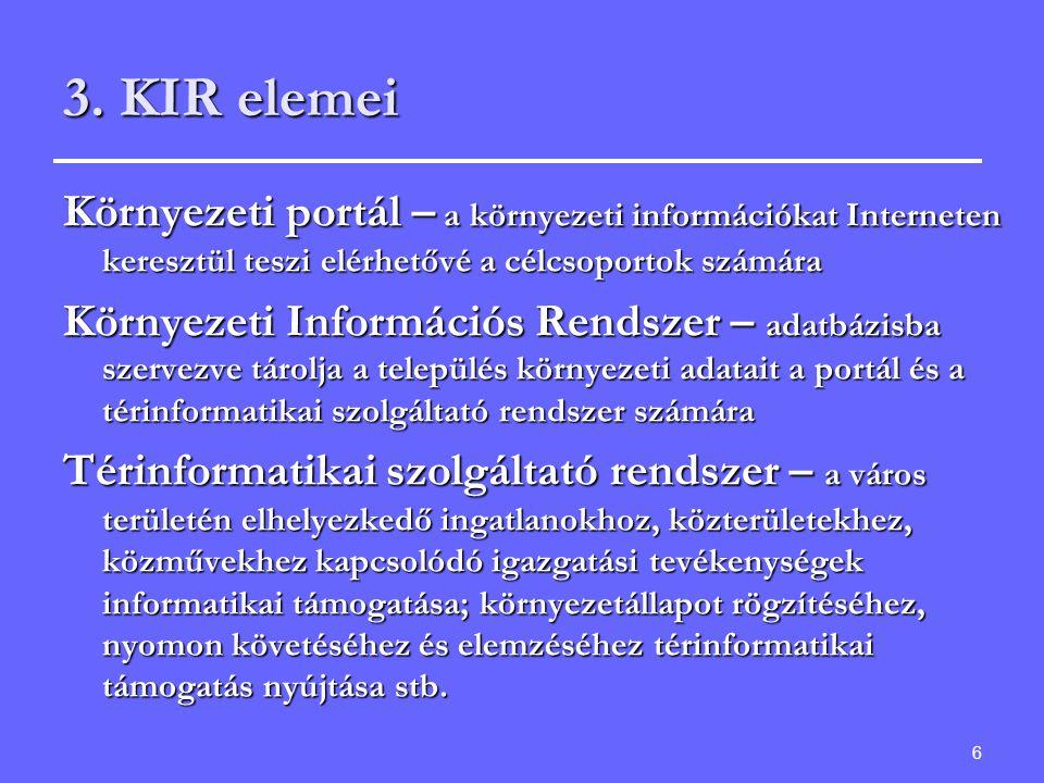 3. KIR elemei Környezeti portál – a környezeti információkat Interneten keresztül teszi elérhetővé a célcsoportok számára.