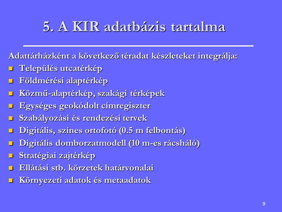 5. A KIR adatbázis tartalma
